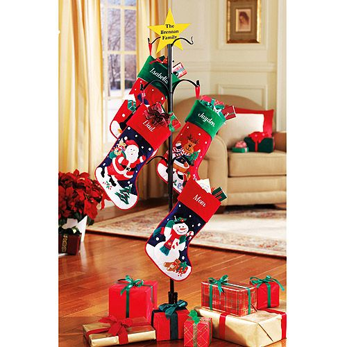 Personalized metal christmas stocking holder holds up to six stockings