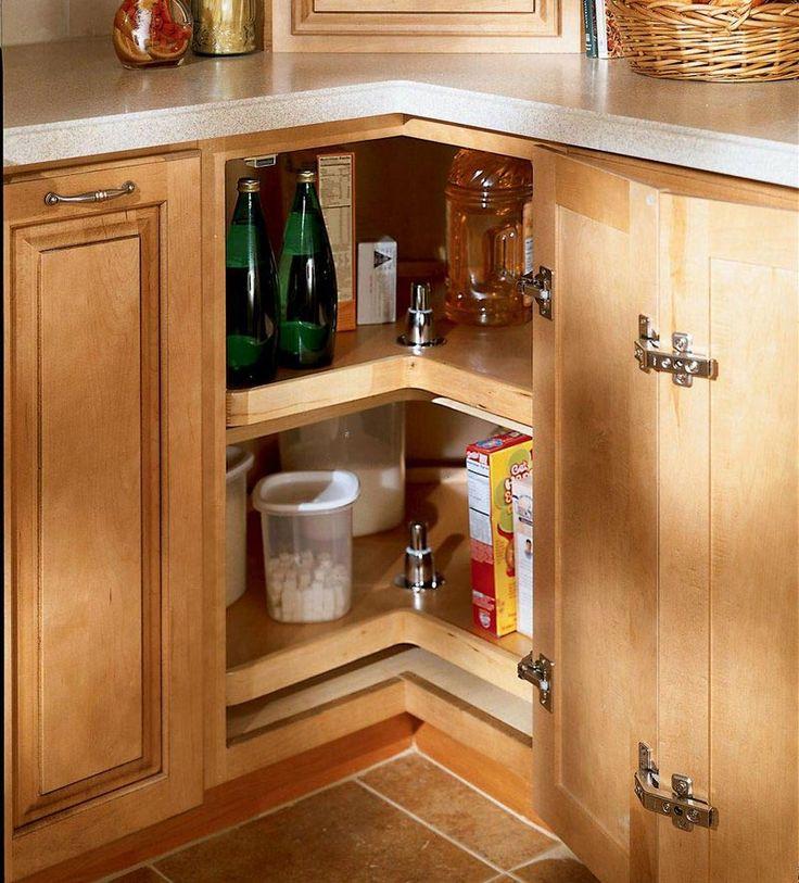 Corner cabinet storage kitchen organization pinterest for Corner kitchen cabinet storage solutions
