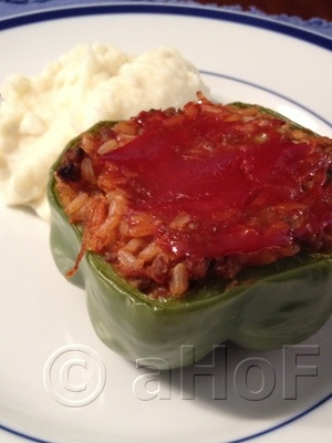 Stuffed Peppers. A nice family meal, delicious topped with a little ...