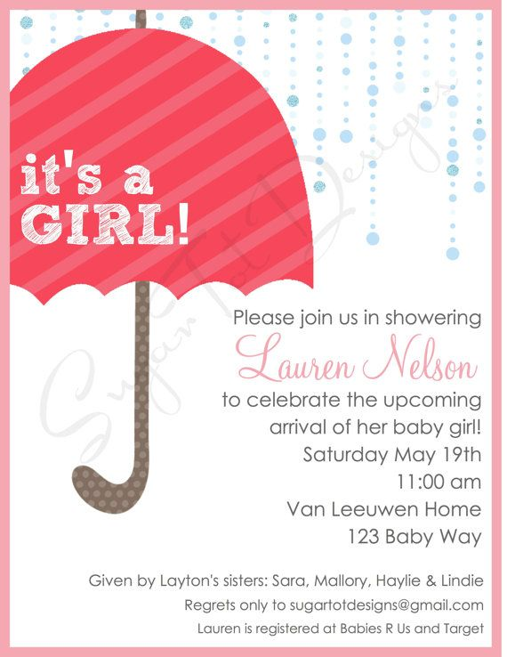 modern baby shower invitation girl baby shower by sugartotdesigns 12