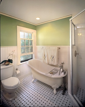 White Beadboard And Subway Tile Wainscoting Mixed With A Breezy Green