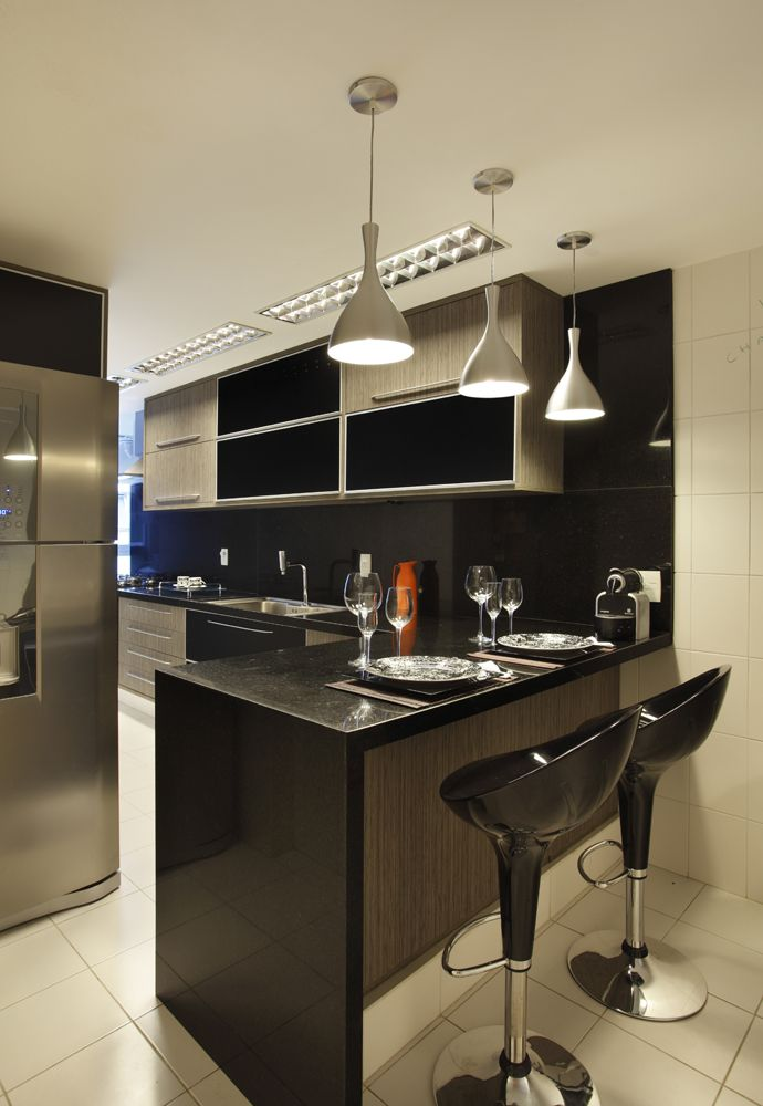 Cozinha, lustres, balcão, caldeiras, cor,