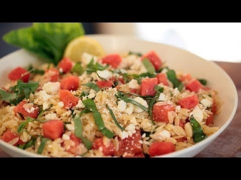 Great dish for Mother's Day! Orzo with Watermelon Basil and Feta