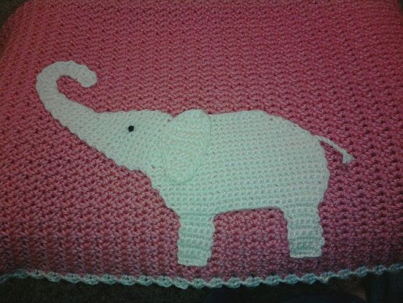 Crochet Elephant Blanket : Crocheted Pink and Cream Elephant Baby Blanket by laceylove81, $130.00