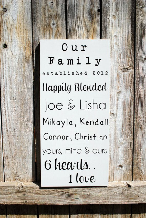 Wedding Gift Ideas Blended Family : Blended Family Sign Established date sign with family names on Etsy, USD ...