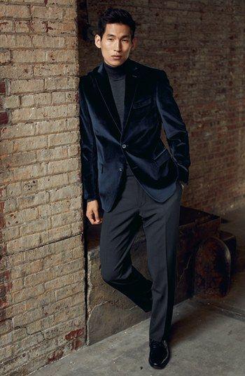 Michael Kors Velvet Blazer & BOSS HUGO BOSS Flat Front Wool Trousers | Nordstrom