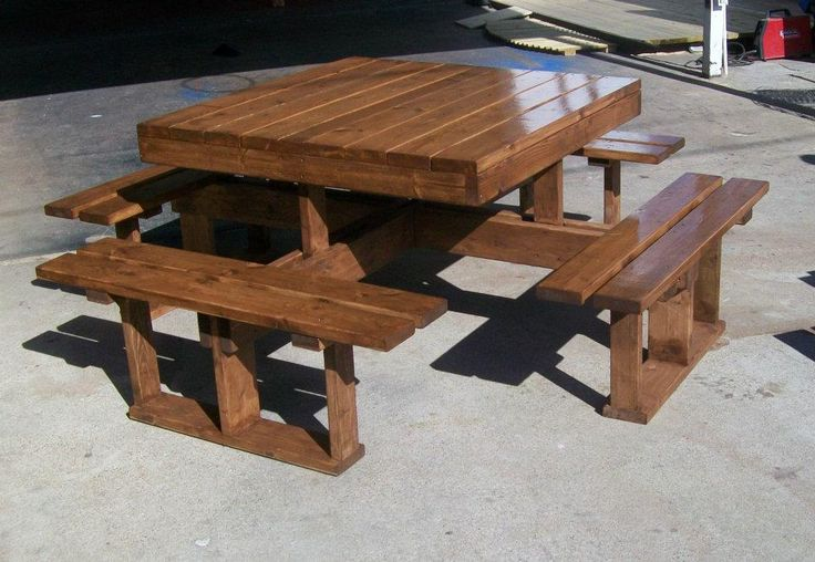 attached square picnic table retirement projects and plans pinter. Black Bedroom Furniture Sets. Home Design Ideas