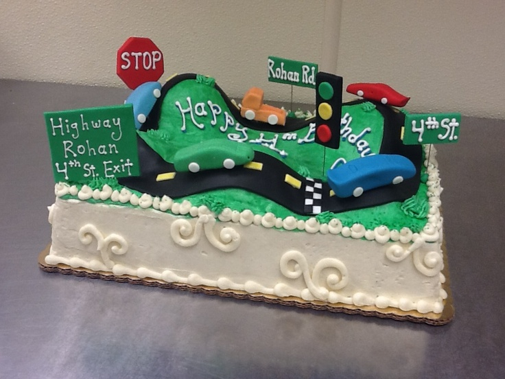 Cake With Fondant Cars : Bumpy Road Cake with Fondant Cars! Sweety Pies Bakery ...