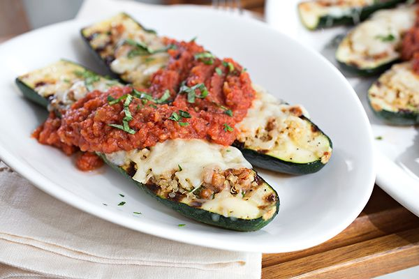 Cheesy Italian Grilled Zucchini Boats stuffed with Spicy Sausage and ...