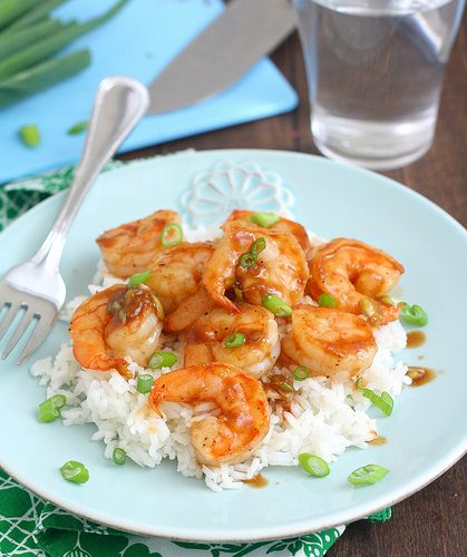 Pan-Seared Shrimp with Ginger-Hoisin Glaze- quick and easy