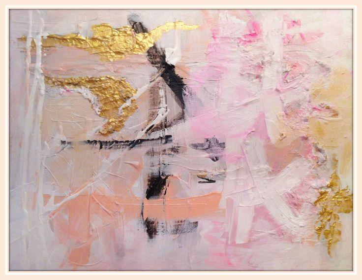 Bijou and Boheme: Serafina abstract painting, pink, blush, gold, black, Wink of Pink
