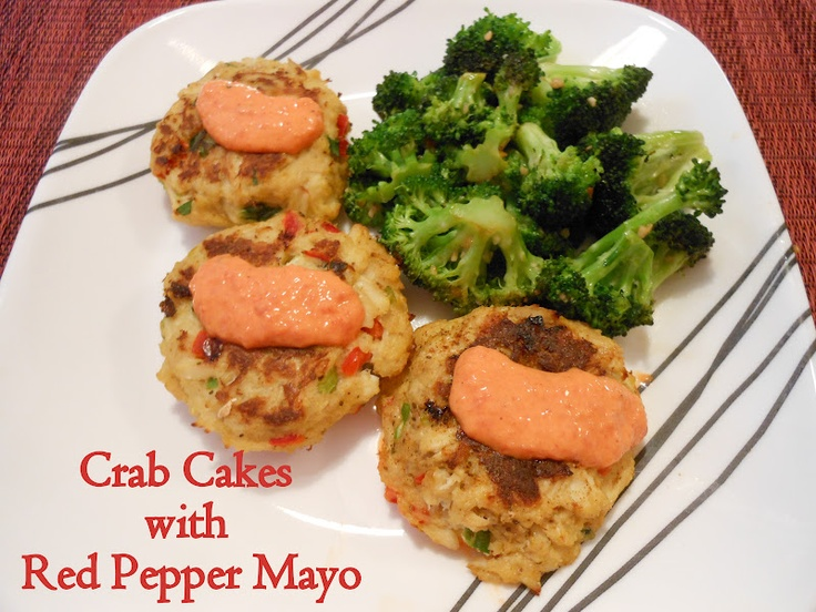 Healthy Crab Cakes with Roasted Red Pepper Mayo