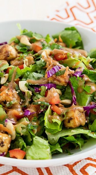 Chopped Power Salad with Baked Tofu and Almond-Miso Dressing | Recipe