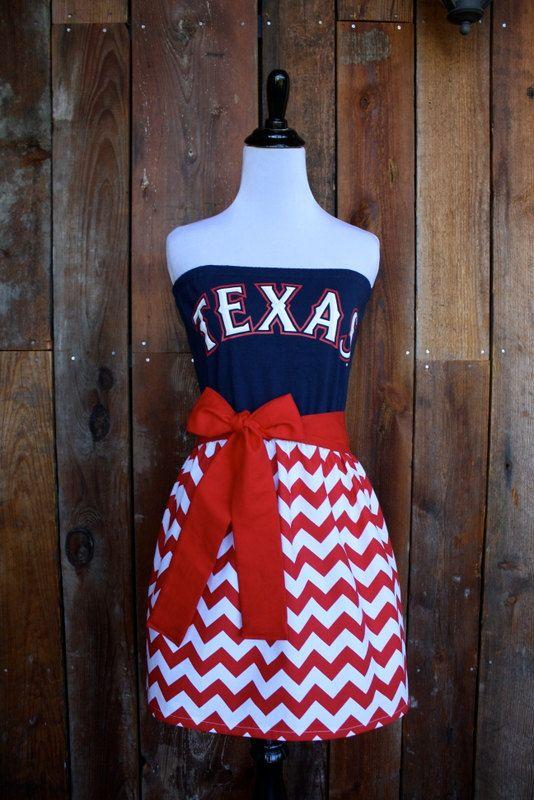 Texas Rangers Baseball Strapless Game Day Dress  by jillbenimble, $55.00