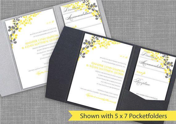 Pocket Wedding Invitation Template Set - DOWNLOAD Instantly - EDITABLE ...