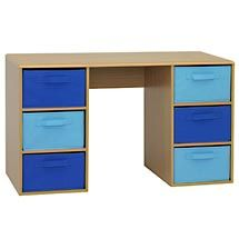 Walmart student writing desk with 3 fabric bins