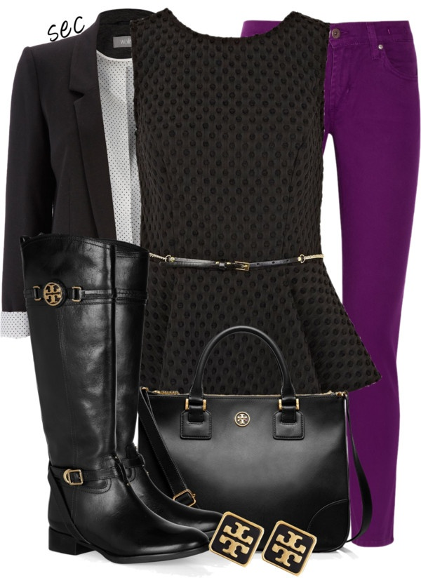 purple skinny jeans and black peplum top- not too sure about the black blazer with the peplum though, maybe with a regular top? Either way like the idea of this outfit...