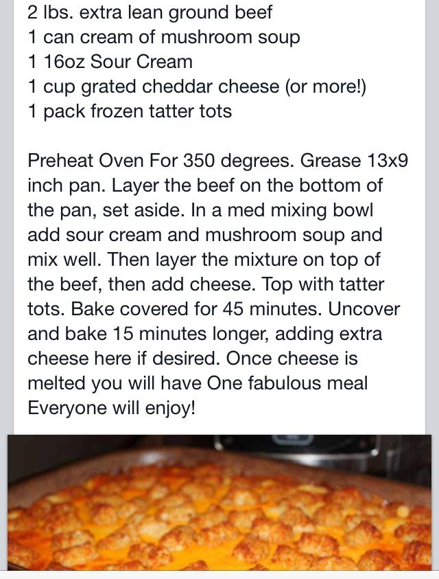 Tater Tot Casserole, I used cream of chicken instead and a little over ...