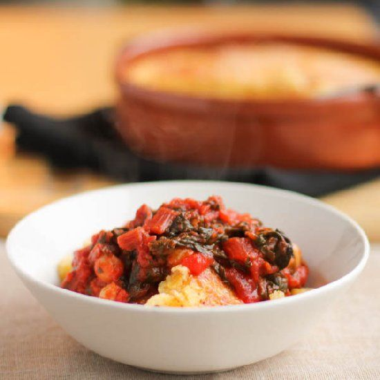 with Swiss Chard-Tomato Sauce – Indulgent two-cheese baked polenta ...