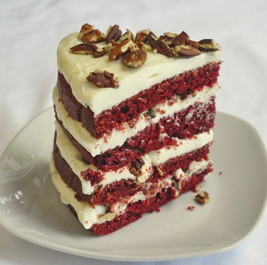 The Best Red Velvet Cake - we borrowed the best elements from several other red velvet recipes to create this outstanding recipe with double cream cheese frosting and toasted pecans. Irresistible!