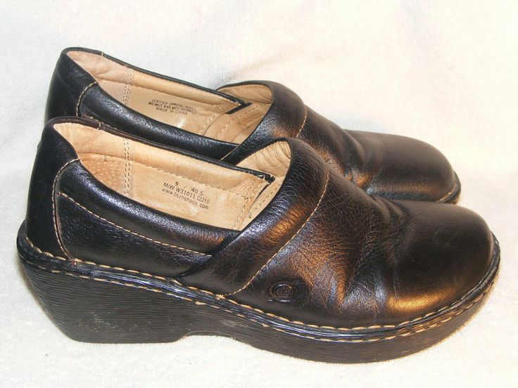 Womens Black Leather Shoes by Born Size 9 #Brn #Clogs