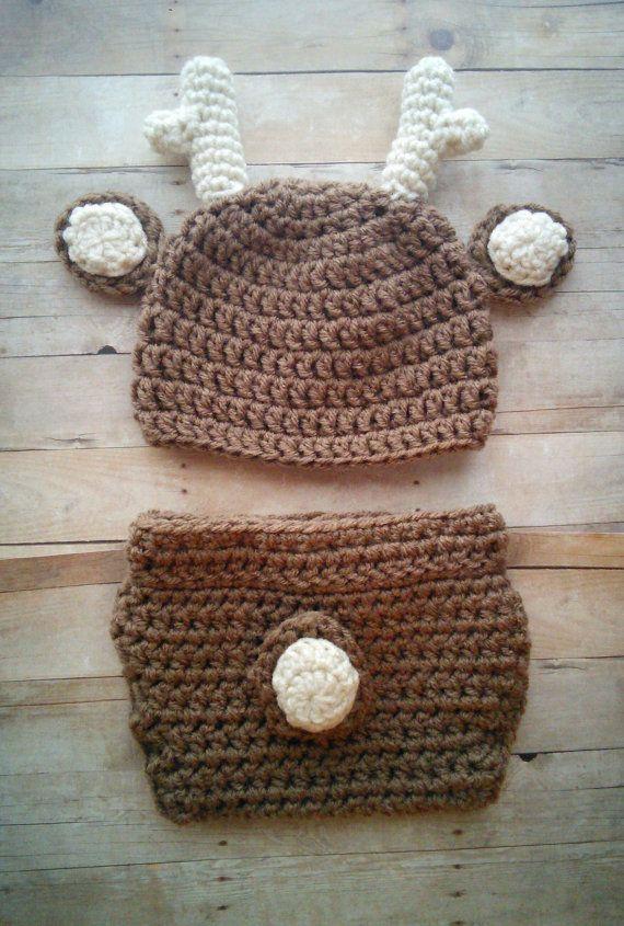 Crochet Deer Hat and Diaper Cover Set Photography Prop