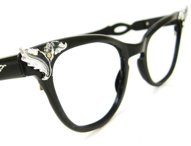 Vintage Black Frame Glasses : Vintage Black Cat Eye Glasses Frame Flair 1950 60s Eyewear
