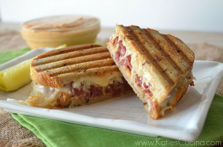 Reuben Panini from KatiesCucina.com @KatiesCucina #Irish #Sandwich # ...