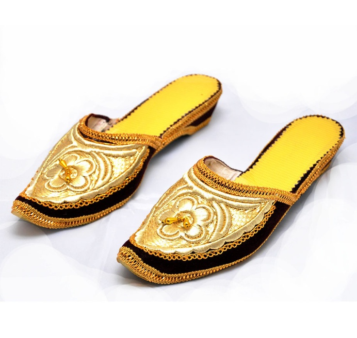 Golden embroidered slippers
