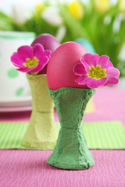 Make Adorable Easter Egg Holders from painted egg cartons and silk flowers