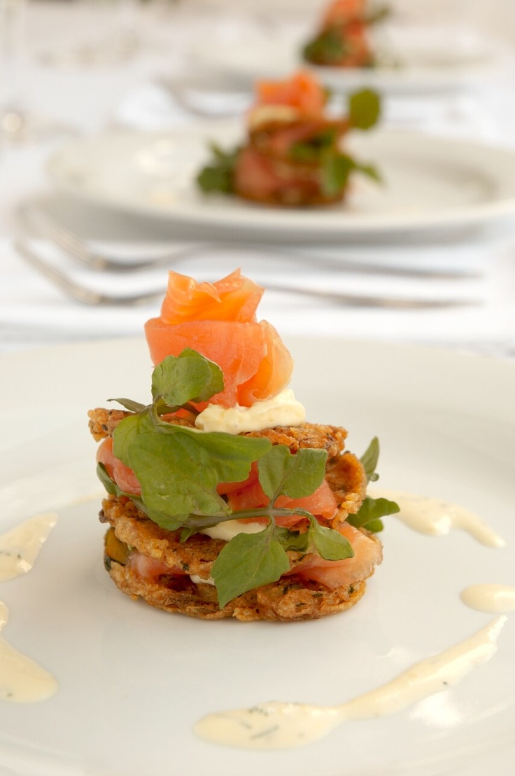Smoked Salmon on Potato Rosti with Dill Creme Fraiche and Watercress