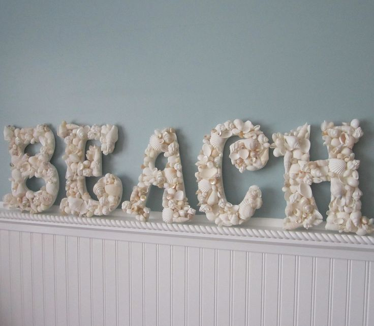 Beach decor seashell letters 5pc nautical shell letters - Shell decorations how to make ...