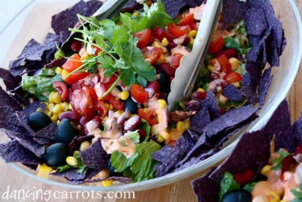 Easy vegetarian taco salad recipe with lentil & rice taco filling ...