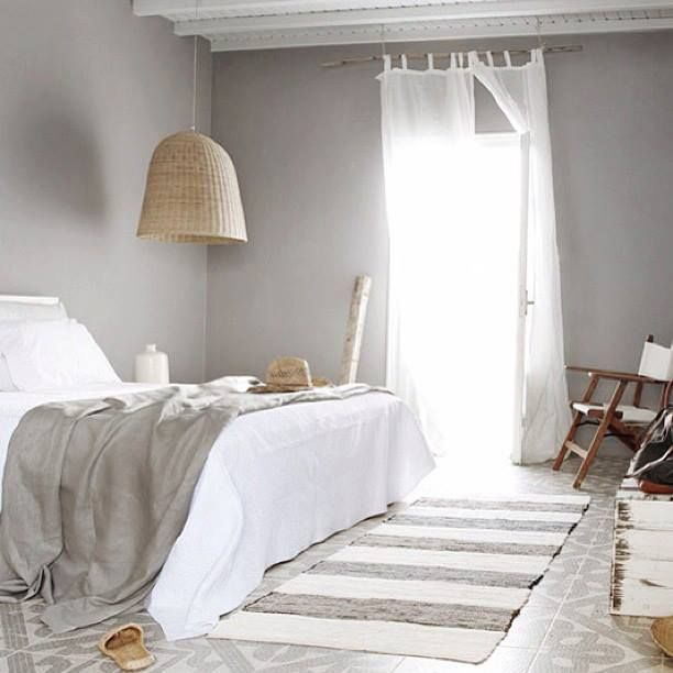 Cool Calm Grey Bedroom with White linen