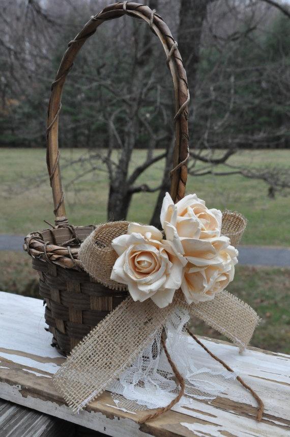 Rustic Burlap Flower Girl Baskets : Set of ring bearer pillow flower girl basket rustic