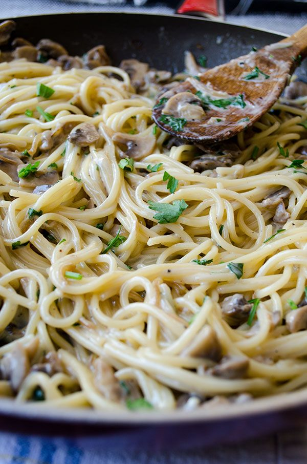 Creamy Mushroom Pasta with onion and goat cheese. This is a super ...