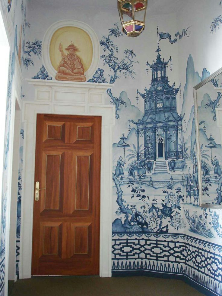 Chinoiserie mural blue and white obsession pinterest for Chinoiserie wall mural