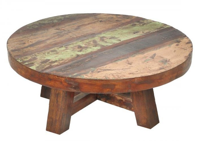 Beautiful Vintage Rustic Round 40 Coffee Table Made With Solid Rec