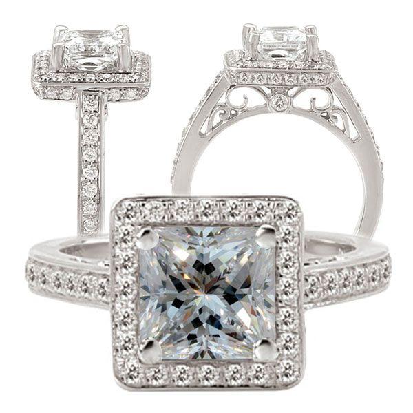 ... white gold diamond engagement ring semi-mount, holds 6mm princess cut
