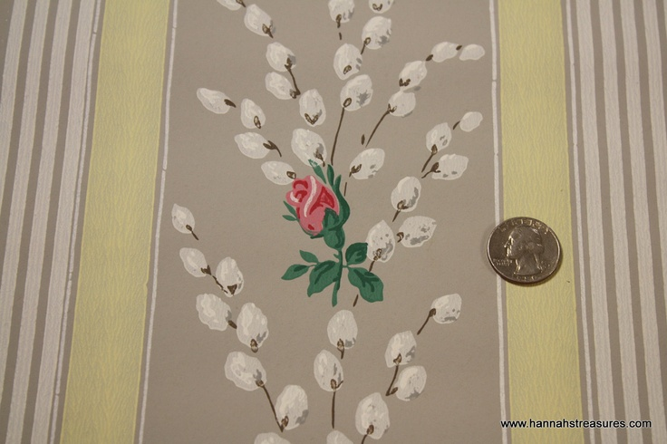 1940's Vintage Wallpaper Pussy Willow and Pink Rosebuds.
