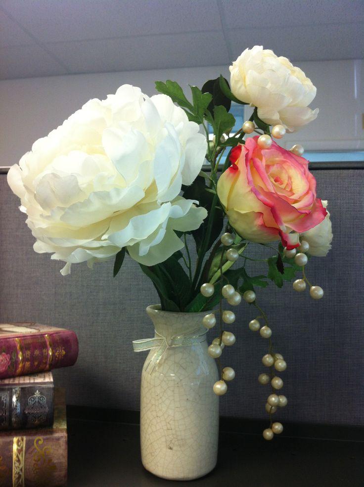 Cubicle desk decor diy flower vase home office space pinterest Diy home decor flower vase