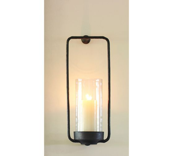 Rectangle Iron & Glass Candle Sconce