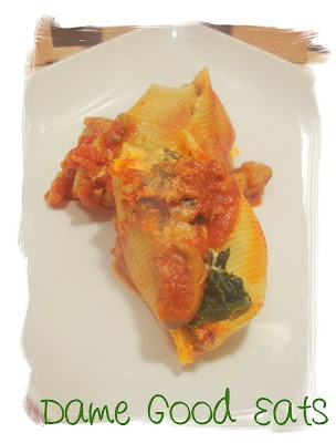 Lightened Spinach Stuffed Shells with Meat Sauce
