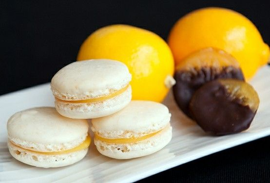 ... sunshine yellow hued filling in these delightful Meyer Lemon Macarons