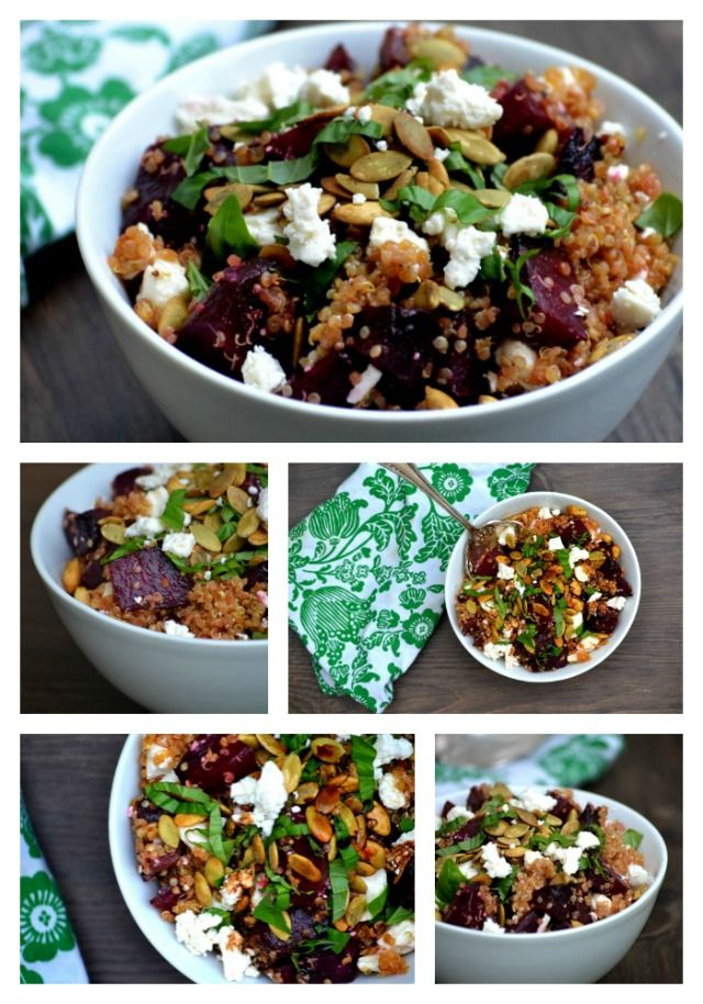 roasted beet and quinoa salad with feta cheese pumpkin seeds basil and ...