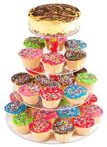 Tier Stacked Party Cupcake Dessert Tower Clear Acrylic Birthday Cake ...