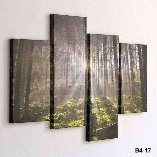 4 piece large canvas picture staggered wall art multi for Large panel wall art