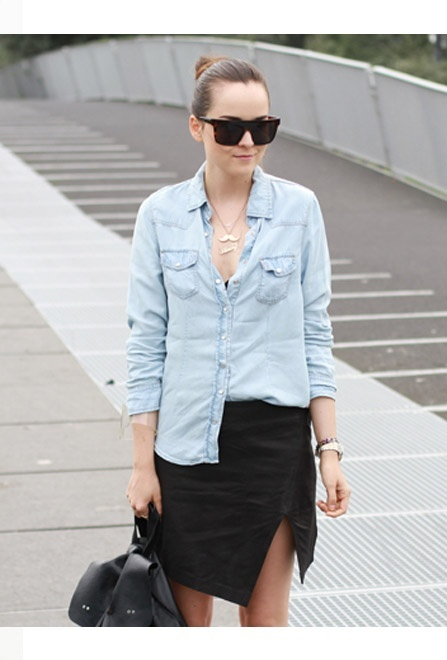 The Chambray Shirt Gets A Fresh Makeover For Spring :: Click To Shop The Trend
