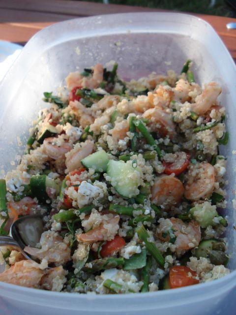 Greek Quinoa Salad (with shrimp) @Cara Engle sis check it!