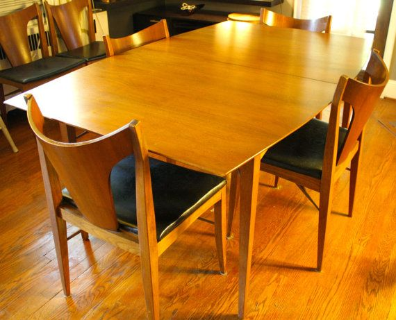 Danish Mid Century Modern Dining Table And Six Chairs Table Pad And